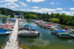 Claytor Lake Marina, Dublin, Virginia, USA. Dublin, VA – August 22th; Boats docked at Claytor Lake Marina located in Claytor Lake State Park on the 22th of Royalty Free Stock Images