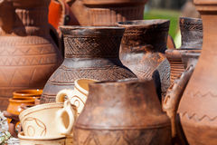 Clayware with designs Stock Photo