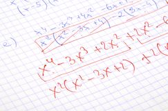 Cálculos escritos mão das matemáticas Imagem de Stock Royalty Free