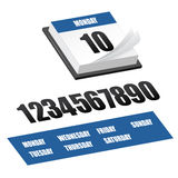 Clean 3d calendar icon. With set of numbers and days Stock Photo