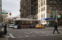 Clean Air Hybrid Electric bus on Broadway New York Royalty Free Stock Images