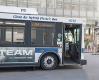 Clean Air Hybrid Electric Bus. New York City Transit`s bus fleet is in a process of Royalty Free Stock Photo