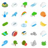 Clean air icons set, isometric style. Clean air icons set. Isometric set of 25 clean air vector icons for web isolated on white background Royalty Free Stock Photography