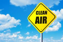 Clean air sign. Clean air road sign and blue sky Royalty Free Stock Images
