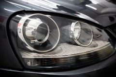 Free Clean And Restored Car Headlight After Restoration Royalty Free Stock Photo - 161604945