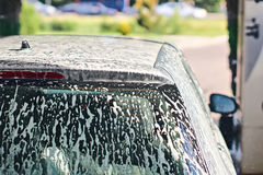 Clean automobile in car wash service interior Stock Photos