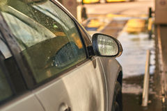 Clean automobile in car wash service interior Royalty Free Stock Image
