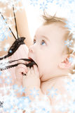 Clean baby boy in mother hands Stock Images
