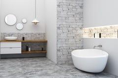 Clean bath room. Clean loft bathroom interior. Side view. 3D Rendering Royalty Free Stock Images