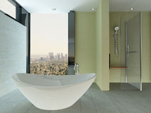 Clean bathroom interior with tiled wall and floor and bathtub Royalty Free Stock Photos
