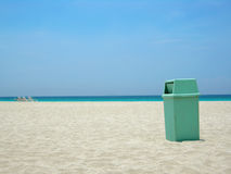 Clean beach. Garbage can at Varadero beach in Cuba helping keep the environment clean Stock Images