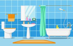 Clean beautiful bathroom interior. With shower, bathand and bathroom furniture vector illustration Stock Photo