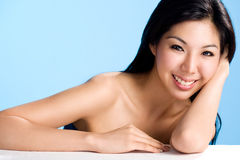 Clean and beautiful face of asian woman Stock Photo