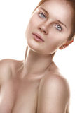 Clean beauty portrait of a young ginger girl Stock Photography