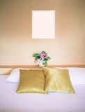 Clean bed, well decorated, in warm tone Stock Photo
