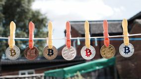 Clean bitcoins on the line Stock Photography