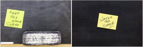Clean black board space eraser watch. Keep this space clean watch this space school education chalk blackboard inspirational motivational black background Stock Photos