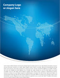 Clean blue brochure design. With earth map in background Stock Photo