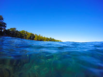 Clean blue sea water - look through under water. To the green beach, Philippines stock photo