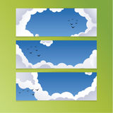 Clean blue sky with clouds and birds. Fresh vector backgrounds w Stock Photo