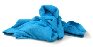 Clean Blue Towel. Towel blue laundry textile bathroom clean cotton royalty free stock photography