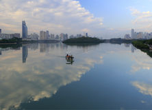 Clean boat patrol the yundang lake Royalty Free Stock Photography