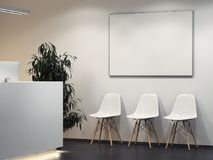 Clean bright interior with reception and row of chairs. 3d rendering Stock Image