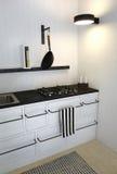 Clean Bright Retro Kitchen. Retro Kitchen in bright white colors. Minimalistic, sparse and contemporary interior design stock photo