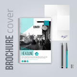Clean brochure cover template with blured city landscape letter and pen. Corporate identity. Business design, flyer Stock Photo