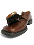 Clean Brush And Brown Men Shoe Royalty Free Stock Photography