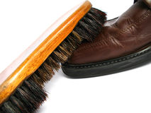 Clean brush and brown men shoes Stock Photo