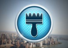 Clean brush icon in city. Digital composite of Clean brush icon in city Royalty Free Stock Photo