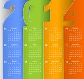 Clean 2014 business wall calendar. This is file of EPS10 format royalty free illustration