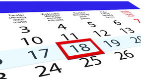 Clean calendar with moving date pointer