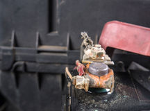 Clean car battery terminals after cleaning with hot water.(After. Cleaning royalty free stock images