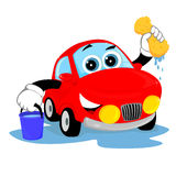 Clean car. Bright red car shining with cleanliness after washing vector illustration