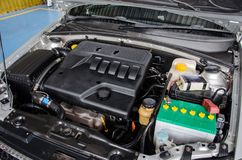 Clean car engine. After washing stock image