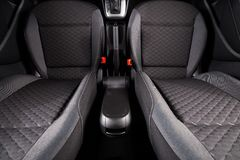 Clean car interior. Car front seats after dry clean. Black automobile interior stock image
