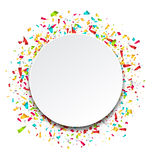 Clean Card with Colorful Explosion of Confetti Stock Photography