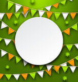 Clean Card with Party Bunting Pennants and Clovers for St. Patricks Day Stock Image
