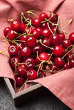Clean cherry, organic fruit food. Rustic snack.  royalty free stock images