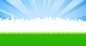 Clean City And Green Meadow Stock Photos