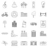 Clean city icons set, outline style. Clean city icons set. Outline set of 25 clean city vector icons for web isolated on white background Stock Image