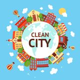 Clean city scape background. Clean city street scape background with globe retro buildings around vector illustration Royalty Free Stock Images