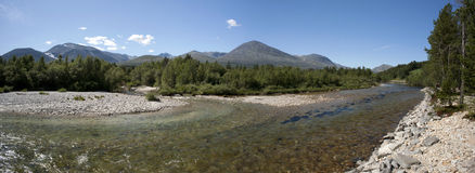 Clean and clear river in the forest, Rondane National Park Stock Photography