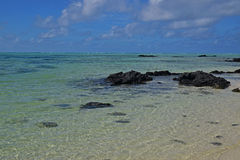 The clean clear transparent sea water off Ile aux Cerfs Mauritius Royalty Free Stock Photos