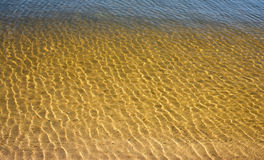 Clean, clear water in the river with a sandy bottom Royalty Free Stock Photography