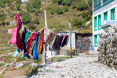 Clean clothes hang drying. Royalty Free Stock Photos