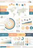 Clean Color Infographics Elements with World map. Royalty Free Stock Photo
