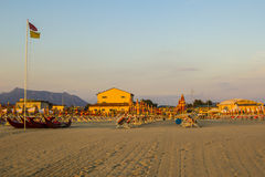 Clean and comfortable beach in Viareggio in Tuscany at sunset Stock Photography